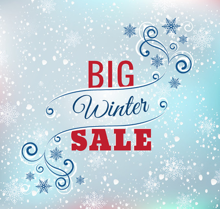holiday shopping: Big winter sale typography poster - Vector illustration. All elements can be edited to fit your layout.Colorful background consist of several separate layers. Eps 10 Illustration