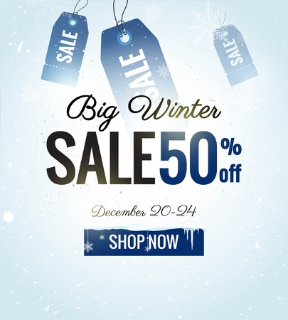 winter fashion: Big winter sale banner. Winter sale snowy background with price tags, frozen button and snowflakes. Vector illustration
