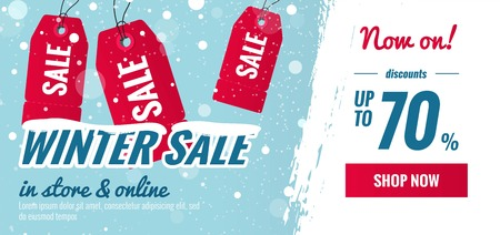 Winter sale blue and red horizontal banner.Snowy sale poster with price tags and brush strokes.    Vector illustration. Illustration