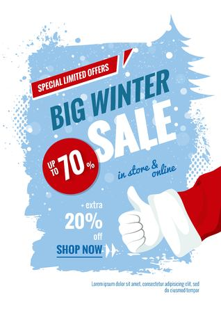 Big winter sale vertical banner. Snowy background with brush strokes and Santa Claus Thumb up gesture. Vector illustration
