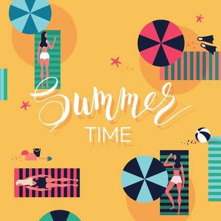 cartoon umbrella: Summer beach background. Summer holidays and vacations banner with people sunbathing. Vector illustration