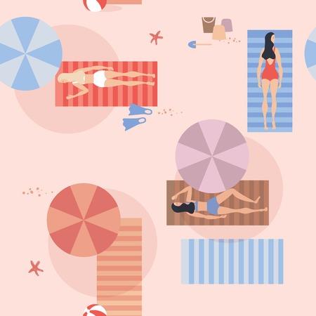 cartoon umbrella: Seamless pattern of people sunbathing on the beach. Vector illustration