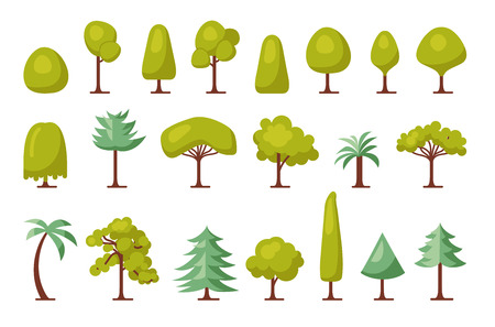 Trendy Set of different trees and bushes. Flat forest elements. Trees icon set. Vector illustration