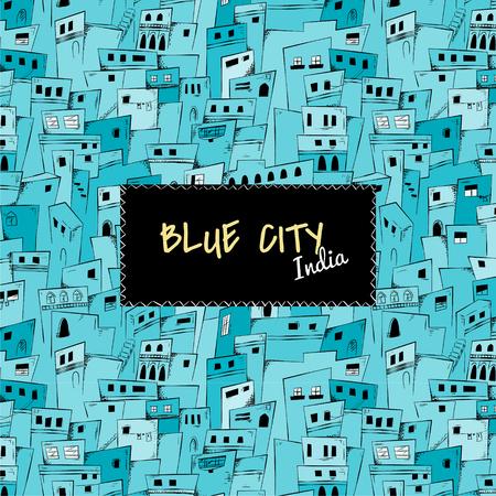 インドの青い都市のシームレスなパターン。ベクトルの背景