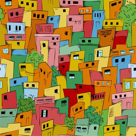 Colorful seamless pattern of slum city. Brazilian favela. Vector background