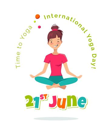 aerobics class: 21 June International Yoga Day flyer, banner or poster. Pretty young girl doing yoga exercise in the class. Vector illustration Illustration