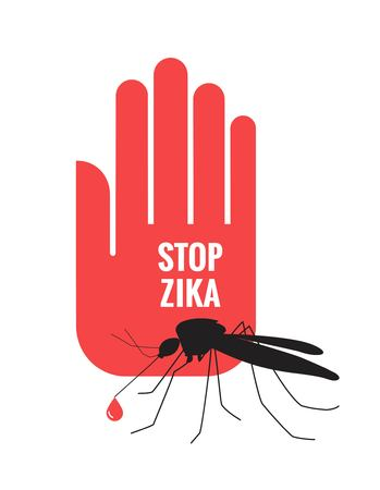 Stop Zika Virus written on hand with mosquito on white background. Stop zika virus isolated aegypti mosquito silhouette icon. Vector illustration Illustration