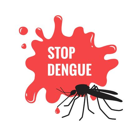 Stop dengue written on blood drop with mosquito on white background. Stop zika virus isolated aegypti mosquito silhouette icon. Vector illustration