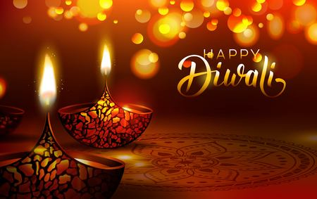 Diwali festival poster. DIwali holiday shiny background with diya lamps and rangoli. Vector illustration Stok Fotoğraf - 85643811