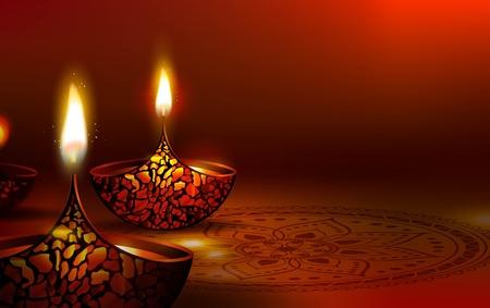 Diwali festival poster. DIwali holiday shiny background with diya lamps and rangoli. Vector illustration