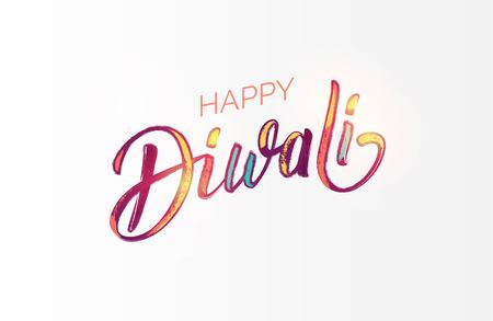 Happy Diwali colorful calligraphic lettering poster. Colorful hand written font with paintink splatters. Vector illustration