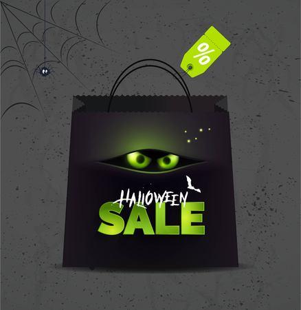 ハロウィーン販売背景。ハロウィーン ハロウィーンのシンボルとテキストでのオンライン ショッピングのバナーです。ベクトルの図。