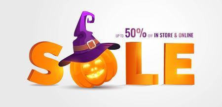 Halloween Sale banner with big 3d letters Sale and holiday symbols pumpkin and witch hat. Great for banner, voucher, offer, coupon, holiday sale. Vector illustration