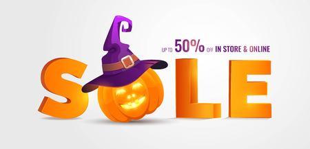 Transparent Sprzedaż Halloween z dużymi literami 3d Sprzedaż i wakacyjne symbole dyni i kapelusz czarownicy. Świetne na banery, kupony, oferty, kupony, wyprzedaże. Ilustracji wektorowych Ilustracje wektorowe