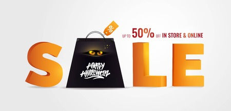 Halloween Sale banner with lettering, shopping bag and holiday symbols. Great for banner, voucher, offer, coupon, holiday sale. Vector illustration