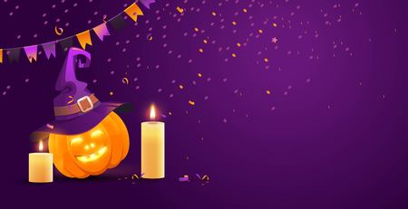 Halloween festive background with flags, pumpkin, candles and serpentine.Beautiful greeting card with place for your text. Vector Illustration.