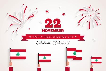 22 de novembro. Cartão do dia da independência do Líbano. Ilustración de vector