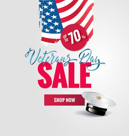 Happy Veterans Day sale banner. Holiday typographic poster with usa waving flag, brush strokes and captain cap. T