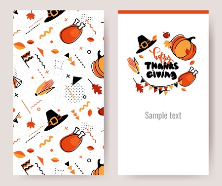 Thanksgiving invitation cards in 80s memphis style. Happy thanksgiving posters. Vector illustration Illustration