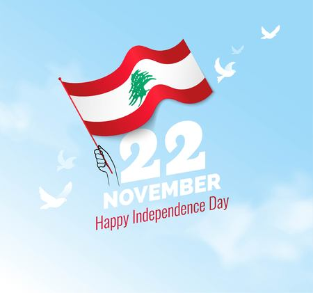 22 November. Lebanon Independence Day greeting card. Celebration background with waving flag and blue sky.