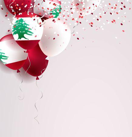 22 de noviembre. Tarjeta de felicitación del día de la independencia de Líbano. Celebración de fondo abstracto con globos y confeti. Ilustración de vector