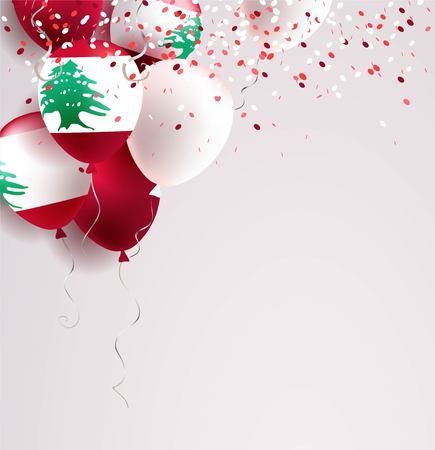 22 November. Lebanon Independence Day greeting card. Celebration abstract background with balloons and confetti.