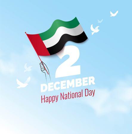 Diseño de concepto de la tarjeta de felicitación del Día de la Independencia de los Emiratos Árabes Unidos.