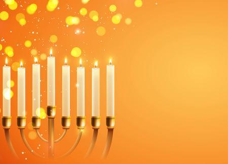 chanukkah: Hanukkah, the Jewish Festival of Lights, festive background with menorah and golden lights. Vector illustration