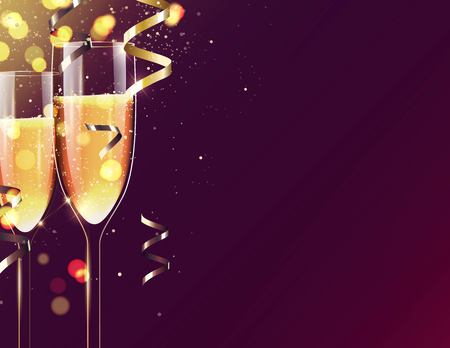 Two glasses of champagne on sparkling holiday background. Happy new year festive background. Vector illustration