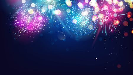 Abstract new year background with colorful fireworks and christmas lights. Vector festive illustration Illustration