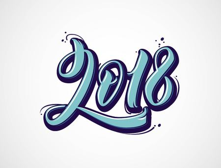 2018 lettering numbers isolated on white. Greeting card design with 3D text. Vector illustration