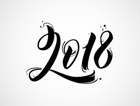 2018 New Year of the Dog handwritten lettering typography.  Modern brush calligraphy. Vector illustration