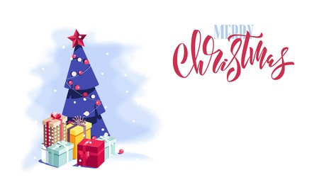 Merry Christmas and Happy New Year vector background with cute  christmas tree and gift boxes. Winter cartoon illustration.  Illustration