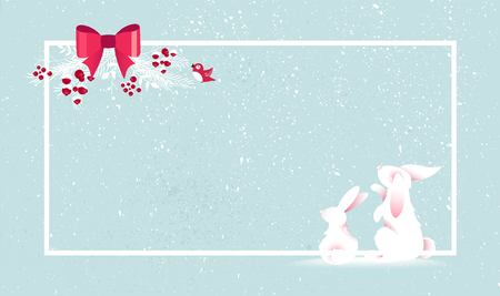 Merry Christmas and Happy New Year vector background with cute bunny and christmas decoration. Winter cartoon illustration