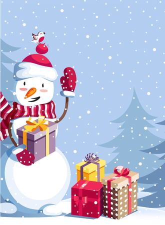 Merry Christmas and Happy New Year vector background with cute snowman and winter landscape. Winter cartoon illustration.  Illustration