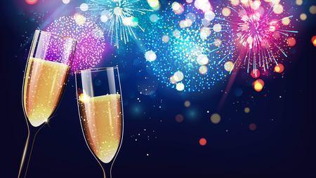 Ciao 2018. Buon Natale e felice anno nuovo sfondo 2018 festivo con due bicchieri di champagne su sfondo vacanza scintillante. Illustrazione vettoriale
