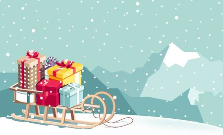 Merry Christmas and Happy New Year vector background with sled, gifts and mountains. Winter cartoon illustration