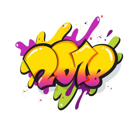 New year 2018 text design. Greeting card design with 3D numbers and color splatters. Vector illustration Illustration