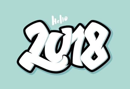 Hello 2018 lettering. Greeting card design with 3D numbers. Vector illustration