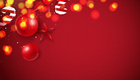 Abstract Background of Christmas Red Knitted Pattern with christmas lights and decorations. Vector illustration Illustration
