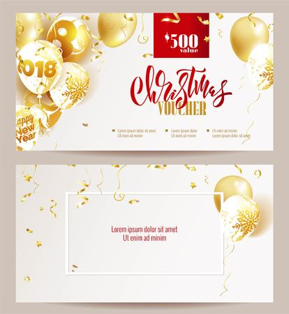 Christmas voucher templates. Beautiful holiday background with golden balloons and confetti. Voucher discount. Vector illustration
