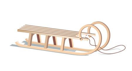 Wooden sled isolated on white. Vector illustration
