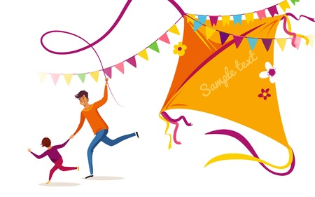 Happy Makar Sankranti holiday background, banner or poster. Happy family father and son flying kite and having fun. Vector illustration Stock Vector - 91469273