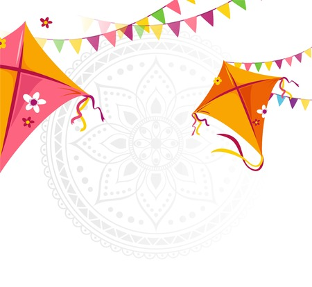 Happy Makar Sankranti holiday background with kites and bunting flags. Vector illustration Illustration