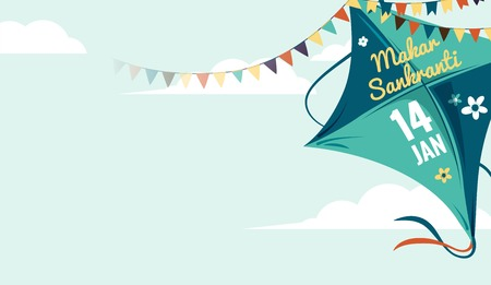 Happy Makar Sankranti holiday background with kite and bunting flags. Vector illustration
