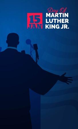 Martin Luther King Day Flyer, Banner oder Poster. Mlk-Hintergrund mit Schattenbild von Martin Luther King und uns Flagge wellenartig bewegend. Vektor-Illustration