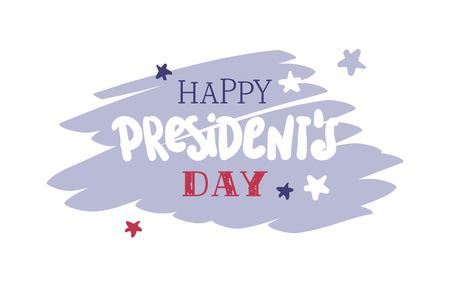 Happy Presidents Day flyer, banner or poster. Holiday background with typographic design in us national colors vector flat illustration.