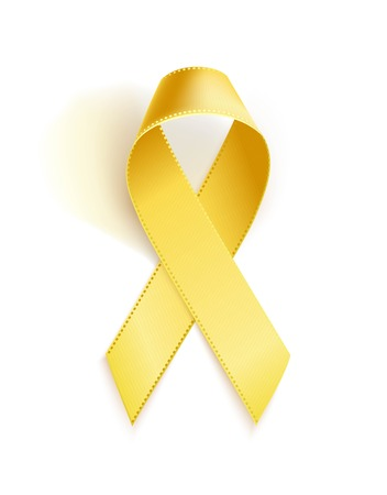 Childhood Cancer Awareness Ribbon. Realistic yellow ribbon, childhood cancer awareness symbol, isolated on white. Vector illustration