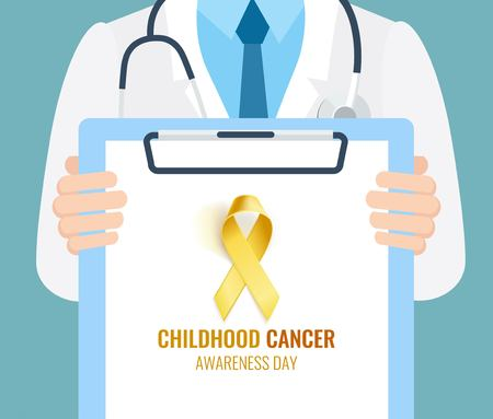 Close-up of a doctor holding a clipboard. Childhood Cancer Awareness Background. Vector illustration