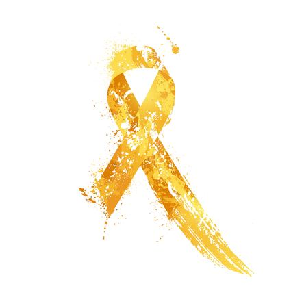 Childhood Cancer Awareness Ribbon. Watercolor yellow ribbon, childhood cancer awareness symbol, isolated on white. Vector illustration Illustration